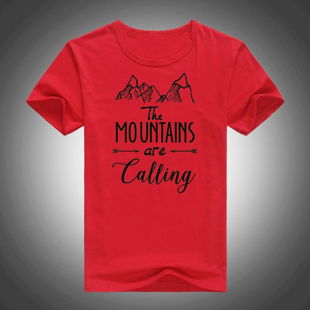 2017 camisetas de las mujeres de BRICOLAJE O cuello montañas letras impresas cómodas camisas de algodón marca
