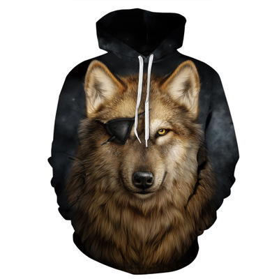 Wolf Hoodies Men/Women Thin 3d Sweatshirts With Hat Print Colorful Blocks Hooded Hip Hop harajuku