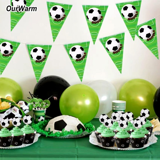 OurWarm 1 Set Football Party Decoration Banner Cupcake Wrappers Toppers Soccer Baby Shower Supply Happy Birthday