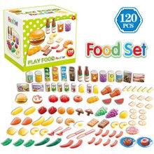 120 Pcs Set Kids Kitchen Toy Plastic Fruit Vegetable Food Cu