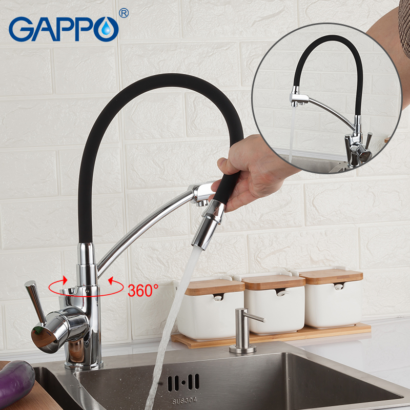GAPPO Kitchen Faucet Kitchen Sink Faucet Tap Black Deck Mounted Pull Out Kitchen Mixer Filtered Water Tap Single Handled Faucet