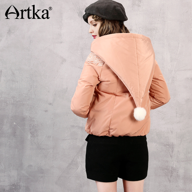 ARTKA Hooded   Down     Coat   With Pom Pom Winter Women Jacket 2018 Brand Parka Female Embroidery Short Outerwear Windbreaker DK10868D