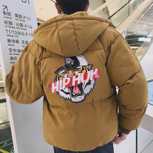 Fashion 2017 Cotton-padded Letter Pattern Clothes Hat Cartoon Printing Casaco Masculino Parka Winter Jacket Men Casual Coat Male
