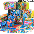 200Pcs Big Size Wooden Cartoon Animal Fairy Tale Puzzle Iron Box Hold Jigsaw Puzzles Children Early Education Eood Toy
