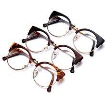 3b0c6c61c1 Fashion Women Brand Designer Cat s Eye Glasses Half Frame Cat Eye Glasses  Women Eyeglasses Frames High quality Grau W715