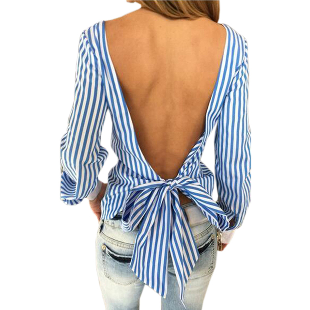 Novelty Striped Blouses Women Sexy Bowknot Backless Shirts Long Sleeve O neck Blouse Women Bandage Tops Plus Size Female M0132