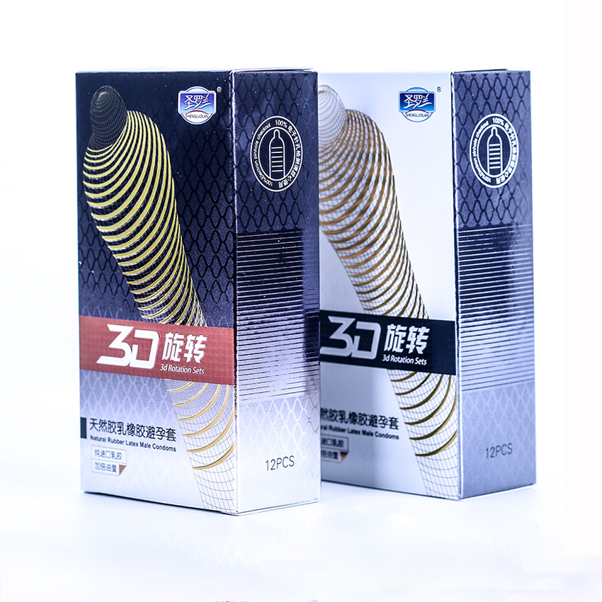 12PCS 3D Rotating Threaded G Spot Condom For Natural Latex Men Penis Sleeve Fruit Flavour Couples Sex Products