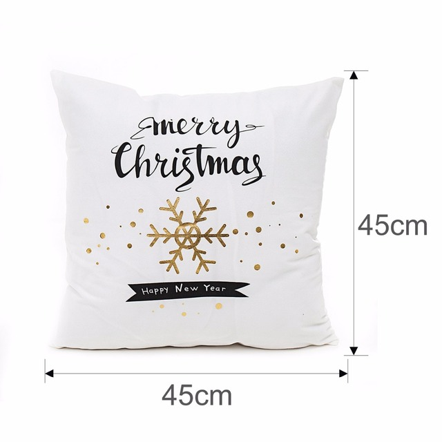FENGRISE 45x45cm Cotton Linen Merry Christmas Cover Cushion Christmas Decor for Home Happy New Year Decor 2019 Navidad Xmas Gift 1