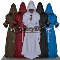 Cosplaydiy Europe Medieval Renaissance Cape Adult Men Monk Priest Hooded Robe Cloak Halloween Carnival Costume