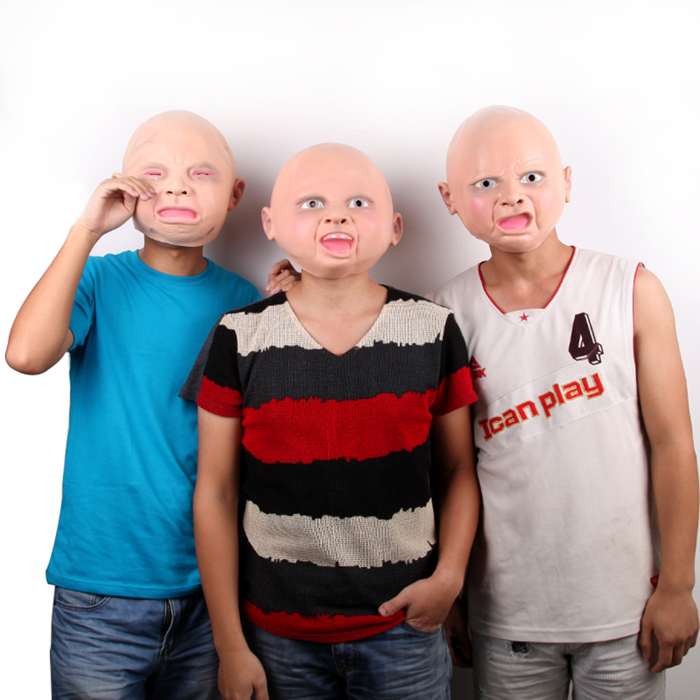 1Pcs Crying Baby Full Face Mask Latex Adults Scary Horror Weeping ...