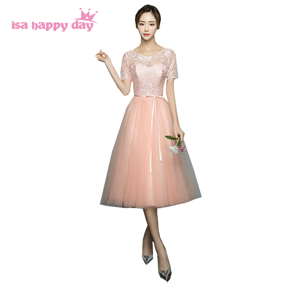 girls elegant peach colored lace top tulle bridesmaid dresses ...