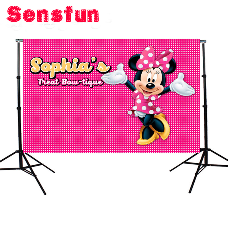 Sensfun Bow Flowers Pink Minnie Mouse Dance Custom Photo Studio Backdrop Background Vinyl Cloth 7x5FT