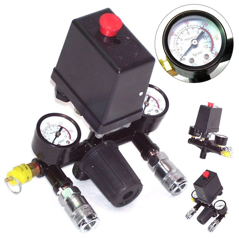 Heavy Duty Air Regulator Compressor Pressure Control Switch Valve with Pressure Monitor 90-120PSI 8.8 Bar AC230V air compressor pressure valve switch manifold relief regulator gauges 90 120 psi 240v 17x15 5x19 cm hot sale