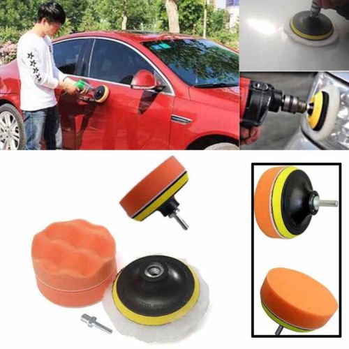 7 Pcs Polishing Buffing Pad Kit for Auto Car Polishing Wheel Kit Buffer With Drill Adapter Car Removes Scratches Car-styling car wax wash cleaning polishing expanding sponge pad yellow