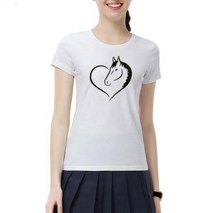 Image 3 - Fashion Love Riding Horse Women T Shirts Summer batwing sevele Cotton Funny Horse Girl T shirt Female Clothing Women Tops