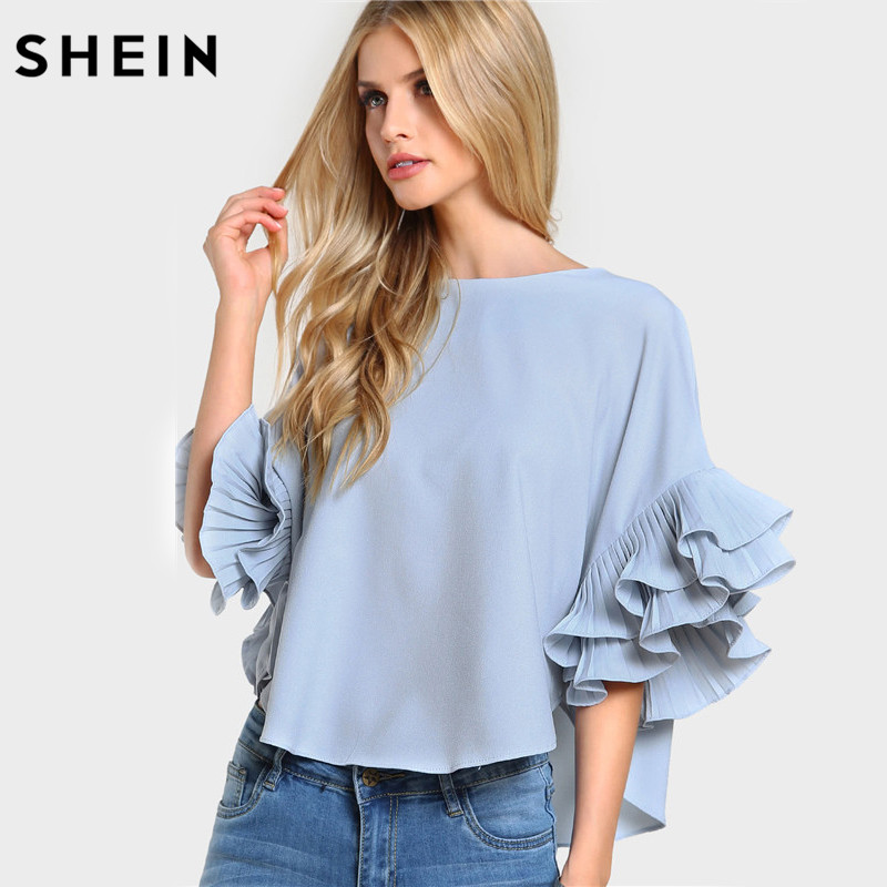 SHEIN Pleated Ruffle Sleeve Dolphin Hem Top Women Blouses Summer 2017 Round Neck Half Sleeve Casual High Low Blouse
