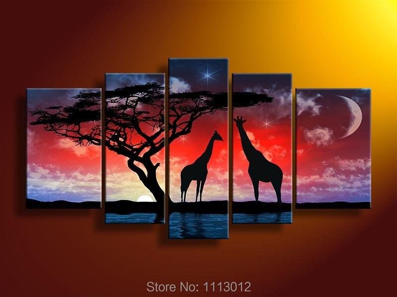 Lune rouge étoile girafe arbre peinture à l'huile sur toile 5 pièces ensemble maison abstraite mur Art décoration moderne photo pour salon