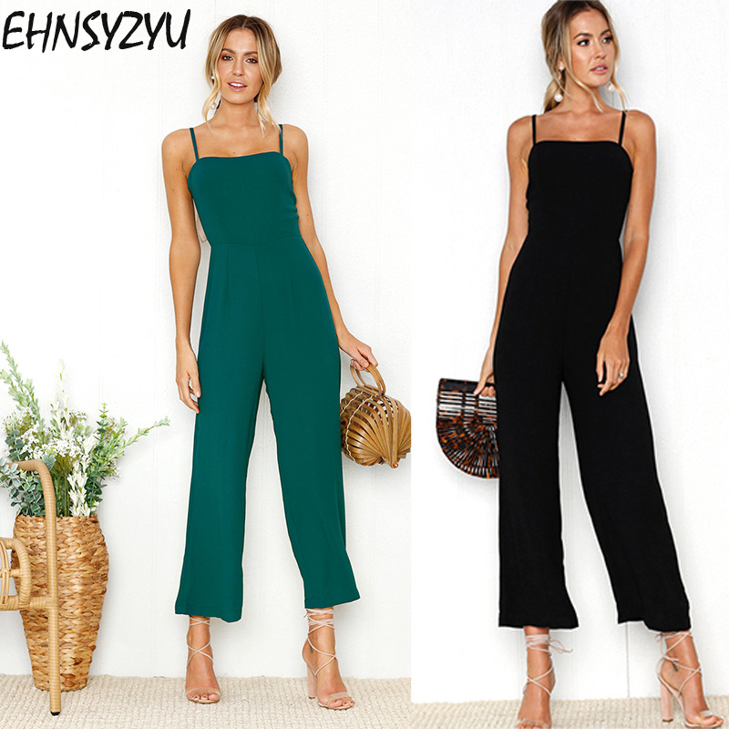 Women's Clothing New 2019 Summer Wide Leg Jumpsuit Women Sexy Spaghetti Strap Square Neck Slim Waist Rompers Casual Beach Party Slim Overalls