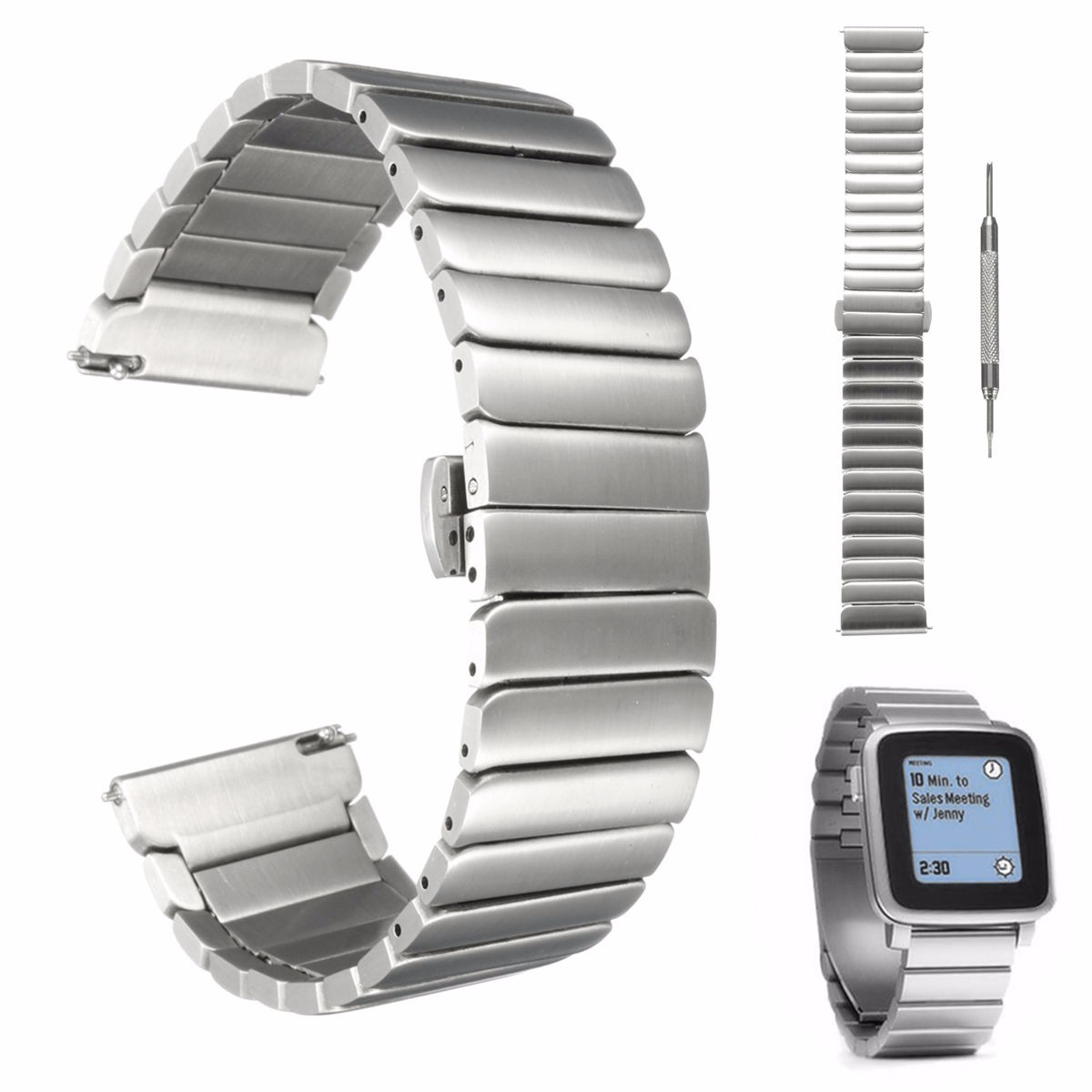 все цены на 22mm 166mm Brand New For Pebble Time Steel Strap Stainless Steel Wrist Watch Bands Watchband Wriststrap Bracelet Butterfly Clasp онлайн