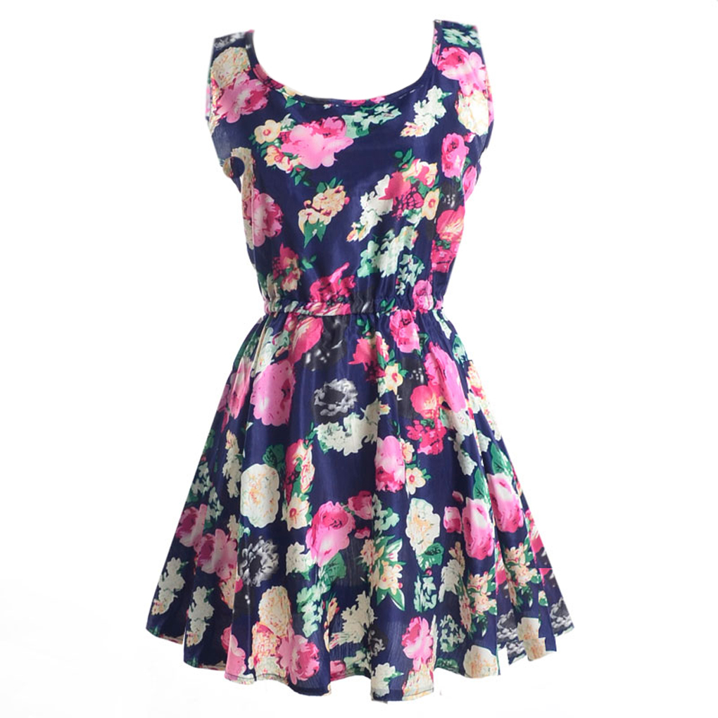 Frauen ärmelloses Kleid Chiffon Blumendruck elastische Taille Kleider