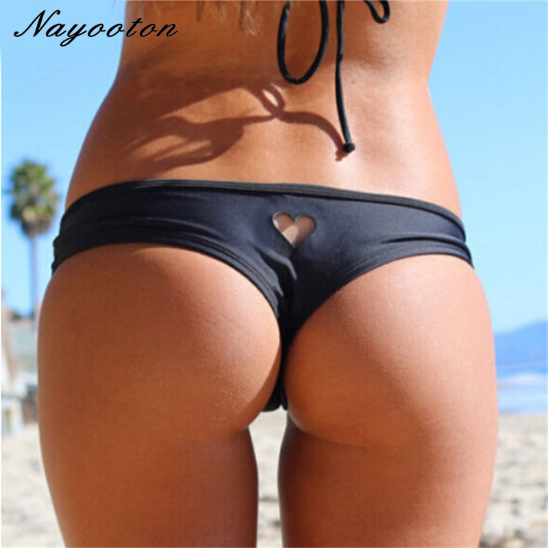 2019 New Heart T-Back Beachwear Bikini Bottom Swimwear Bottom Thong Sexy Mini String Swimwear Bikini Swimsuit For Women  Biquini