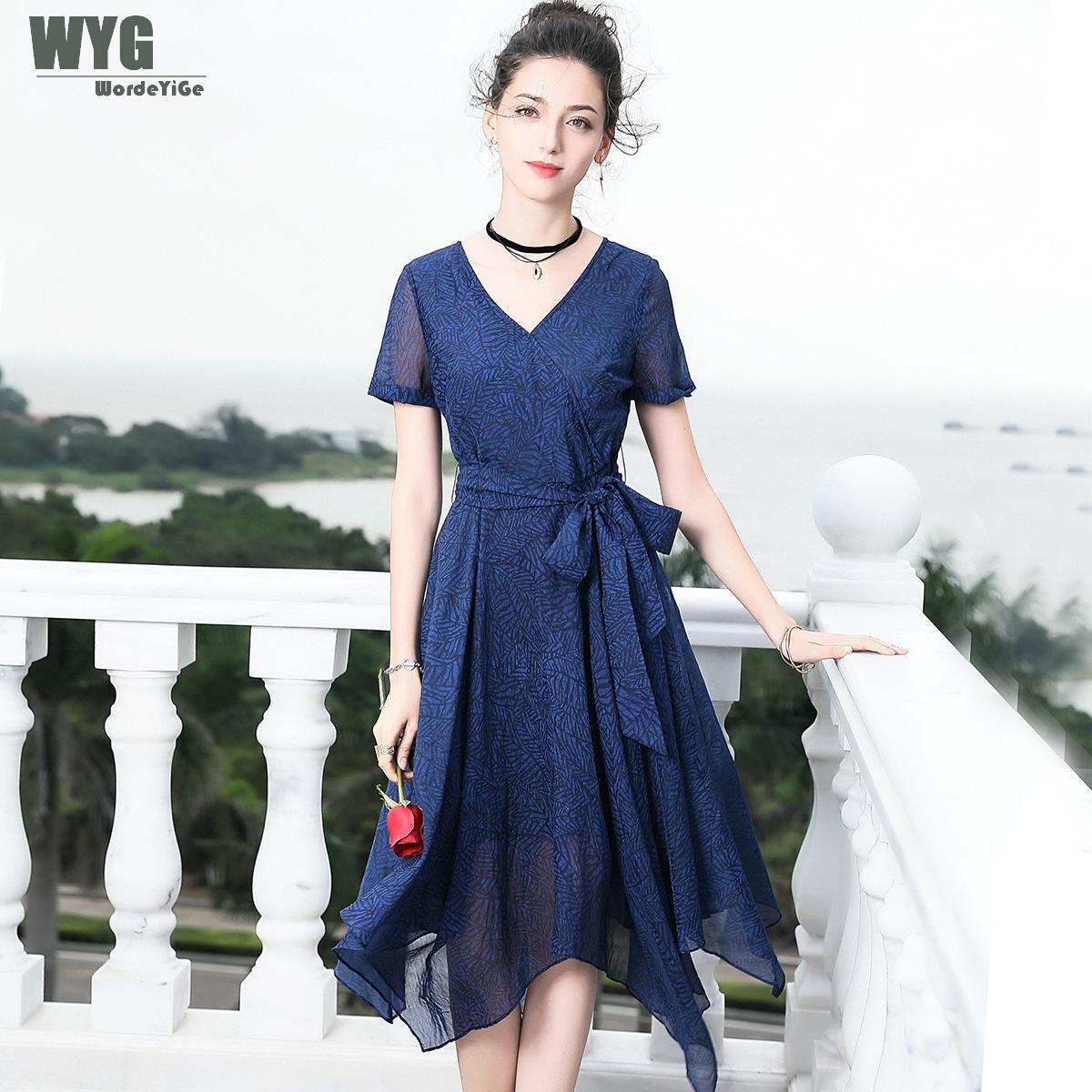 Здесь продается  WYG High Quality Designers Runway Dresses 2018 Summer Elegant Paris Fashion Royal Blue Short Sleeve Scarf Hem Irregular Dress  Одежда и аксессуары