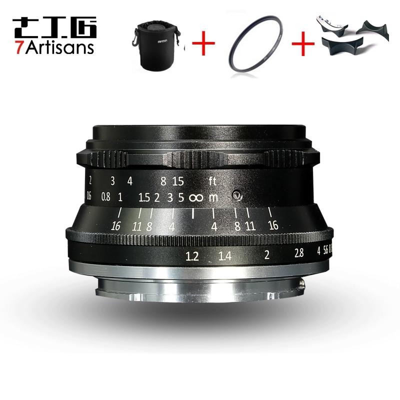 7 artisans 35mm F1.2 lentille principale pour Sony e-mount/pour Canon EOS-M/pour Fuji XF APS-C appareil photo compact Mise Au Point Manuelle lentille fixe