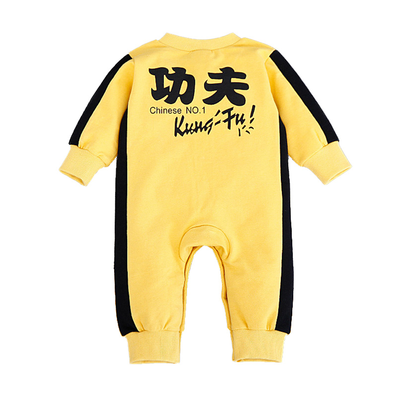 Bruce Lee Baby Rompers Yellow Costume Chinese Kungfu Jumpsuits Newborn Clothes Long Sleeve Infant Bebe Clothing Roupas Infantil penguin fleece body bebe baby rompers long sleeve roupas infantil newborn baby girl romper clothes infant clothing size 6m