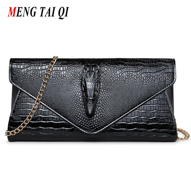 Leather wallet women luxury brand evening clutch bag women messenger bags chain shoulder bag designer crocodile pattern purse 5