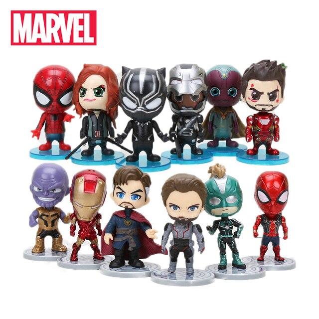10 cm 6 pçs/set Marvel Avengers Brinquedos Endgame Thonas Doutor Estranho Modelo Boneca Figura de Ação Do Homem Aranha Capitão Marvel Carol Danvers