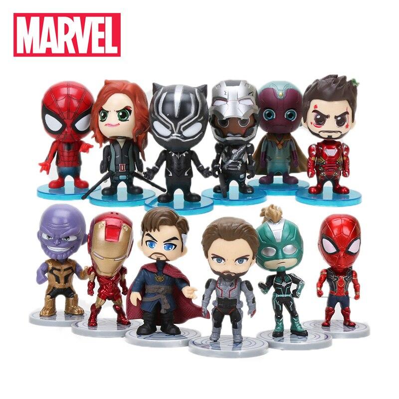 10cm 6pcs/set Marvel Toys Avengers Endgame Thonas Doctor Strange Spiderman Action Figure Captain Marvel Carol Danvers Model Doll