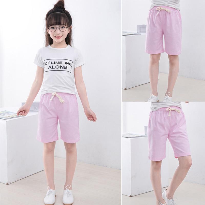 2-10 Yrs Kids Boys Trousers Knee Lenth Shorts Candy Color Girls Children Summer Beach Loose Shorts Pants Cotton&Linen 3