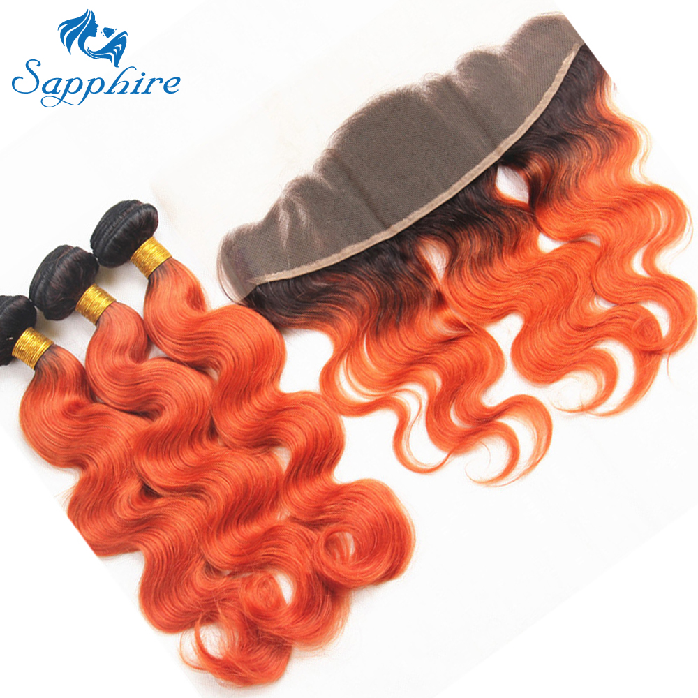 Sapphire Brazilian 4 Human Hair Bundles With Lace Frontal Body Wave Remy Ombre Color 1B/Orange For Hair Salon High Ratio Hair