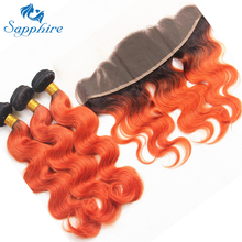 Safir brasiliansk 4 Human Hair Bundles Med Blonde Frontal Body Wave Remy Ombre Farve 1B / Orange Til Hair Salon High Ratio Hair
