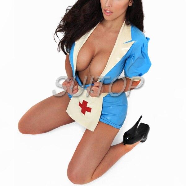 sexy latex uniform nurse dress 100% nature handmade latex costume SUITOP COSPLAY CUSTOM