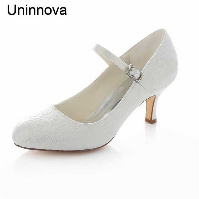 6d90c2e3f50a Women s Round Toe Elegant Lace Mary Janes Lace White Ivory Red Wedding Heels  for Brides and Bridesmaids Uninnova LY3780-14