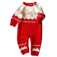 Baby Girls Boys Winter Warm Long Sleeve Rompers With Hat Newborn Baby Christmas Knitted Clothes Deer