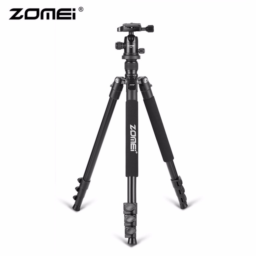 Zomei Q555 Professional Aluminum Camera Tripod Stand With Ball Head Quick-Release Plate For DSLR Camera With Carrying Case zomei q555 lightweight alluminum alloy camera tripod with 360 degree ball head 1 4 quick release plate for canon nikon sony