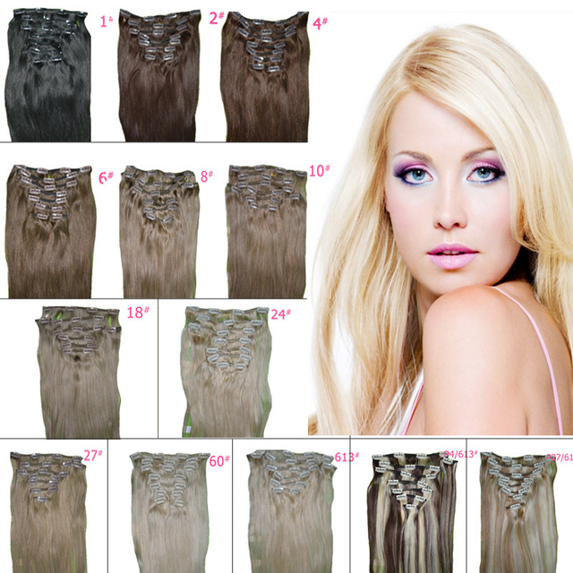High Quality Clip In Hair Extensions 105 Grams 8 Piecesset 20 Inch