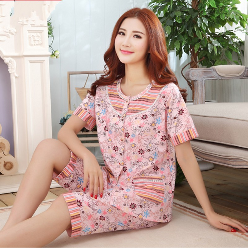 Free Shipping Large Big M-4XL Sleepwear Women's Summer 100% Cotton Short Sleeve Length Pants Thin Plus Size Lounge Pajama Sets