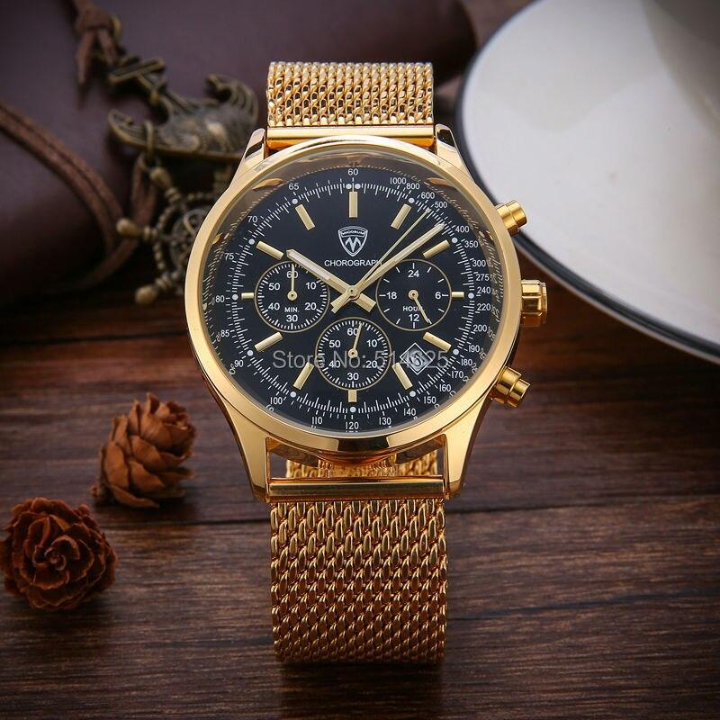 relogio masculino 2017 New Luxury Brand Full Steel Famous Men Chronograph Quartz Watch Business Wrist Watch Mesh Band Men Watch