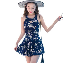 M-2XL Plus Size Swimwear Women Swimming Dress High Neck Bathing Suit Skirted One Piece Swimsuit For Ladies Print Retro Beachwear недорого