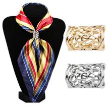 2pcs Silk Scarf Brooches Jewelry Accessories Womens Elegant Clips Scarves Buckle Holder Simple Women Girl Party Gift