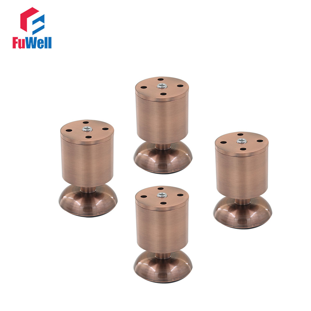 4pcs 80mm Height Adjustable Furniture Legs Aluminum Alloy Red Copper 50mm Diameter Table Cabinet Bed Sofa Leveling Legs Feet bqlzr 4pcs 120x85mm round silver black adjustable stainless steel plastic furniture legs sofa bed cupboard cabinet table feet