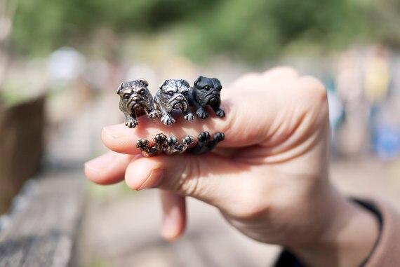 3d Retro Englisch Bulldog Ring Männer Und Frauen Tier Wrap Einstellbare Vintage Ring Schöne Nette Geschenk Für Mädchen Waren Des TäGlichen Bedarfs