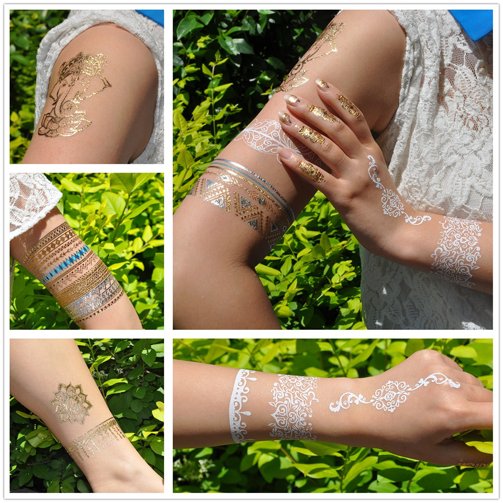 New Design 1PC Temporary Flash Metallic Tattoo Gold Silver Colorful Peacock Feather Palm 3
