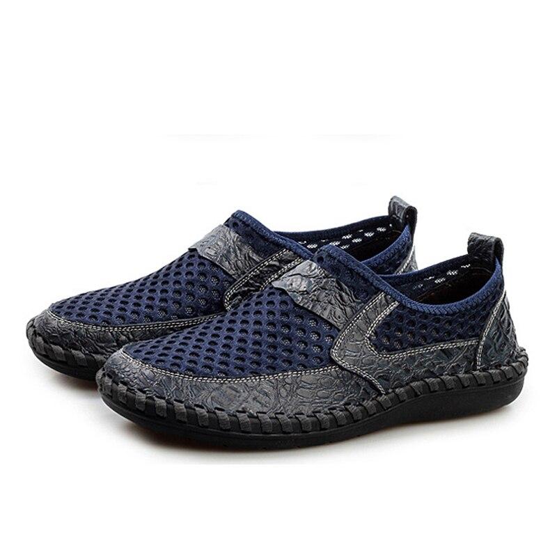 Casual green De Blue Drop Air Chaussures Yween Slip Dark Shipping brown Grande Hommes eur46 On D'été Homme Taille Mesh Eur38 tESqTwH