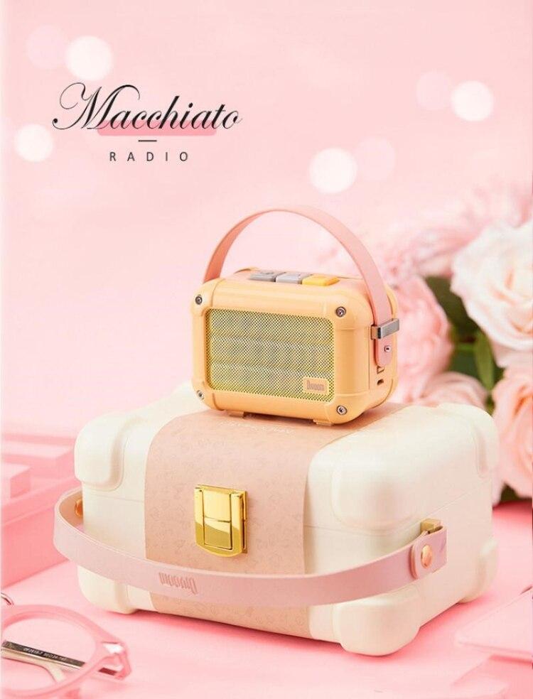 Excellent Divoom Macchiato Bluetooth haut-parleur sans fil pêche rose métal Radio extérieur portable lecteur de musique à main Subwoofer