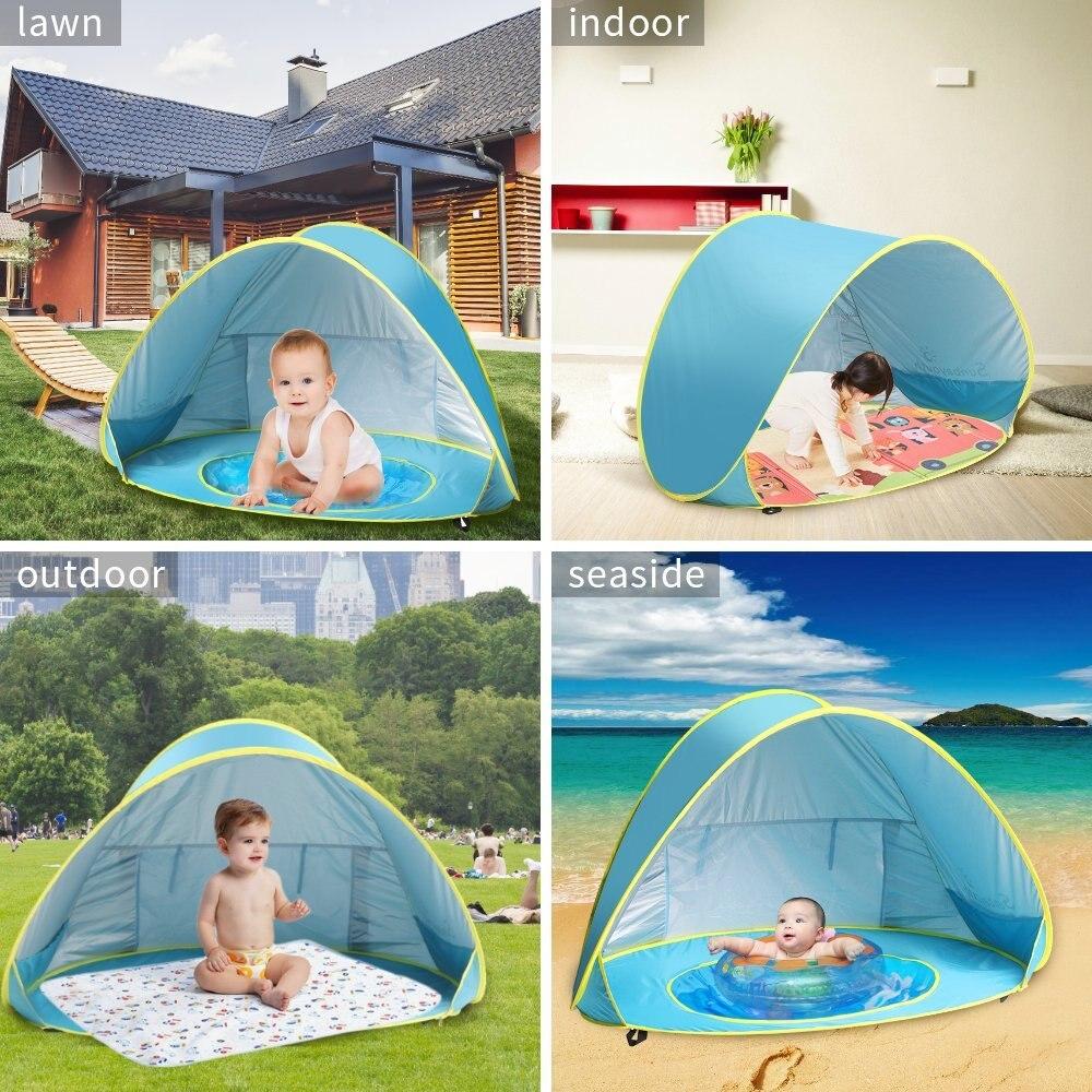 Tente de plage bébé de haute qualité abri solaire anti-uv avec piscine bébé enfants tente de plage Pop Up Portable ombre piscine