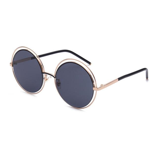ad9bef73f Large Circle Round Sunglasses Women Brand Designer Pink 2017 Female Sun  Glasses For Ladies Gold Rimless Vintage Eyewear Retro